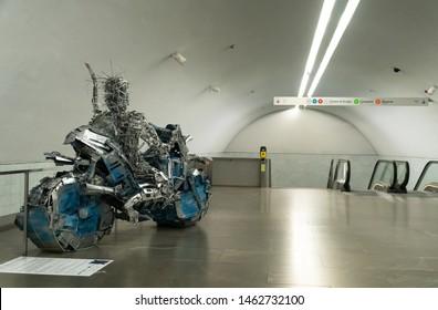 """PORTO, PORTUGAL, July 27, 2019: Art installation called """"O percurso, ecaminhos e 4Estradas"""" presented by Valter Nu in Bolhão subway station, Porto."""
