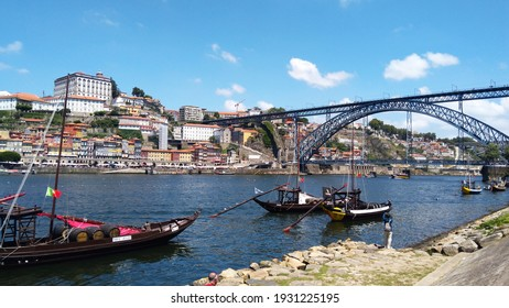 PORTO, PORTUGAL - JULY 29, 2018: View of the boats parked on the Douro Valley