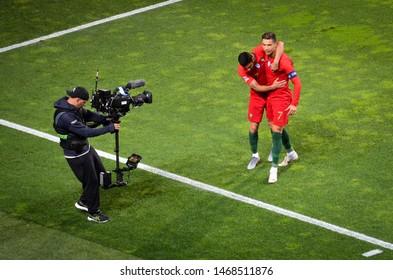 PORTO, PORTUGAL - June 05, 2019: Cristiano Ronaldo celebrate goal scored during the UEFA Nations League semi Finals match between national team Portugal and Switzerland team, Portugal