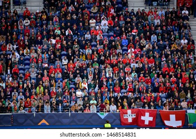 PORTO, PORTUGAL - June 05, 2019: Football fans during the UEFA Nations League semi Finals match between national team Portugal and Switzerland team at the Dragao Stadium, Portugal