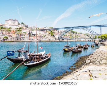 PORTO, PORTUGAL - JUNE 10, 2019: Luis I bridge and Douro river. It is the second-largest city in Portugal. It was proclaimed a World Heritage Site by UNESCO in 1996.