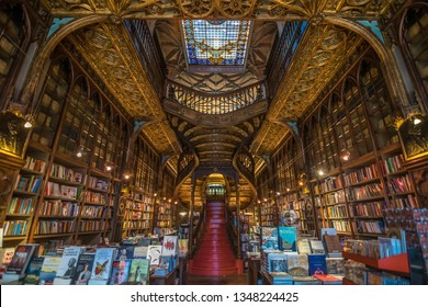 Porto, Portugal - June, 11 , 2015 - Interior view of Lello Bookstore (Livraria Lello) on of the most beautiful bookstores in the world.