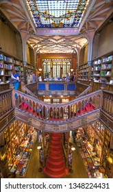 Porto, Portugal - June, 11 , 2015 - Interior view of Lello Bookstore (Livraria Lello) on of the most beautiful bookstores in the world.