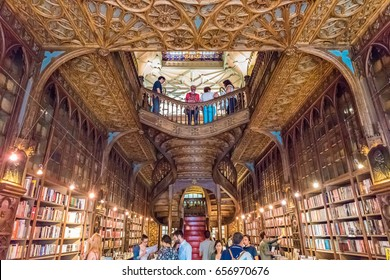 PORTO, PORTUGAL - JUNE 12, 2016: Interior of the Livraria Lello & Irmao bookstore in Porto, Portugal. The bookstore is frequently rated among the top bookstores in the world.