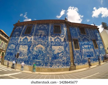 Porto / Portugal - June 2019: The decorative Chapel of Souls (Capela das Almas) in Porto, Portugal