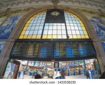 Porto / Portugal - June 2019: The decorative interior of Sao Bento railway station in Porto, Portugal