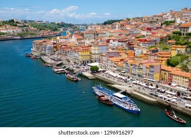PORTO, PORTUGAL - JUNE 29, 2017: Tourist boats moored in the harbor.