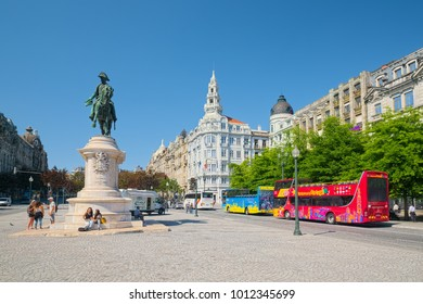 PORTO, PORTUGAL - JUNE 3, 2015: Liberty Square (Portuguese: Praca da Liberdade) of Porto city, with monument of King Peter IV on a background of historic buildings.