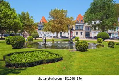 PORTO, PORTUGAL - JUNE 5, 2015: Jardim do Passeio Alegre (in Portuguese) - landscaped 1800s garden at western side of Porto city.