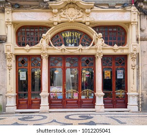 PORTO, PORTUGAL - JUNE 7, 2015: Facade of historic Majestic Cafe of Porto, which was first opened in 1921 under the name of Elite and located on Santa Catarina Street of city center.
