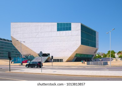 PORTO, PORTUGAL - JUNE 7, 2015: Modern building of House of Music concert hall (Portuguese: Casa da Musica) in Porto, designed by Rem Koolhaas and completed in 2005.