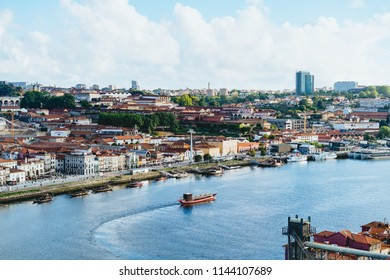 Porto, Portugal / June 8, 2018: A view of Vila Nova de Gaia
