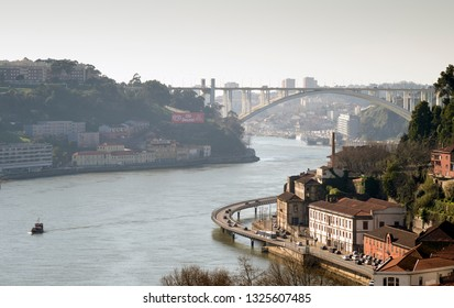 PORTO, PORTUGAL - MARCH 11, 2014: overview of old town of Porto, Portugal