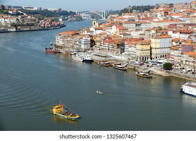 PORTO, PORTUGAL - MARCH 12, 2014: overview of old town of Porto, Portugal