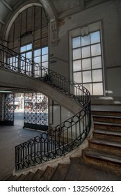 PORTO, PORTUGAL - MARCH 12, 2014: staircase of Bolhao market on Porto, Portugal. Built in 1914 by Correia da Silva architect.