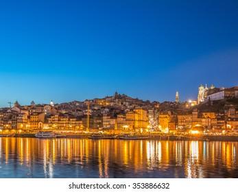 PORTO, PORTUGAL - MARCH 14, 2015: Views of the Ribeira during the blue hour alongside Douro River, Porto, Portugal
