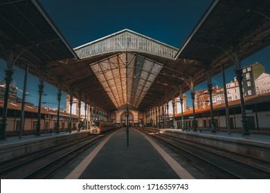 Porto, Portugal, March 2, 2019: Old railway station of Porto San Bento
