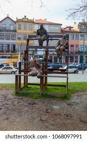 PORTO, PORTUGAL - March 24, 2018: Sculpture Treze a Rir uns dos Outros at Cordoaria's Garden  (Jardim da Cordoaria) in Porto