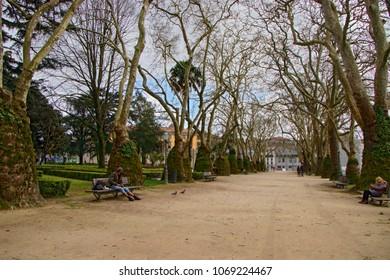 PORTO, PORTUGAL - March 24, 2018: Cordoaria's Garden  (Jardim da Cordoaria) in Porto