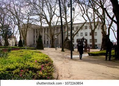 PORTO, PORTUGAL - March 24, 2018: Cordoaria's Garden  (Jardim da Cordoaria) Tribunal da Relação do Porto