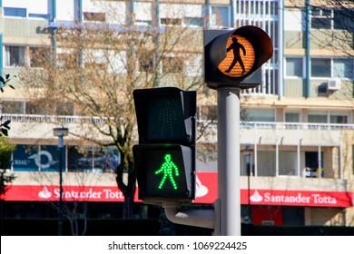 PORTO, PORTUGAL - March 25, 2018: Traffic lights in the street of Porto