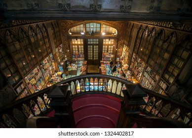 PORTO, PORTUGAL - MARCH 3, 2014: Iinterior of the famous bookstore in Porto Portugal called Livraria Lello Irmão