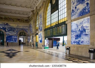 PORTO, PORTUGAL - March 3, 2019: Interior of Sao Bento railway station in Porto