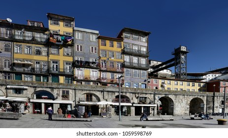 Porto, Portugal - March 4, 2015: Old and colorful Ribeira.