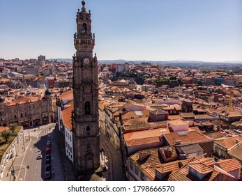 Porto / Portugal – May 16, 2020: The Clerigos Tower (Torre dos Clerigos), one of the landmarks and symbols of the city of Porto, Portugal. Unesco World Heritage Site.