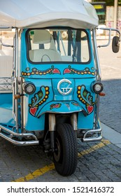 Porto, Portugal - May 19, 2017: Detail of a decorated tuc-tuc in the historic city center