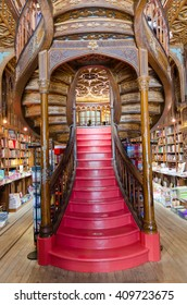 PORTO, PORTUGAL - MAY 20, 2015:  Staircase at the Lello & Irmao bookstore.