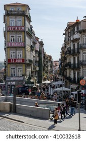 PORTO, PORTUGAL - MAY 20, 2015: People walk around Sao Bento metro station.