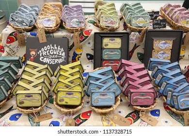 PORTO, PORTUGAL - MAY 24, 2018: Shop with canned sardines and other fish in Porto. Tinned fish is  part of traditional Portugese cuisine since 1860s.
