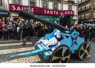 PORTO, PORTUGAL - MAY 9, 2017: Participants of Queima Das Fitas Parade - traditional festivity of students of Portuguese universities. Porto's Queima was the first to reborn after the 1974 revolution.