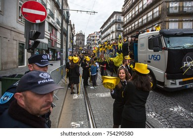 PORTO, PORTUGAL - MAY 9, 2017: Queima Das Fitas Parade - traditional festivity of students of Portuguese universities. Porto's Queima was the first to reborn after the 1974 revolution.