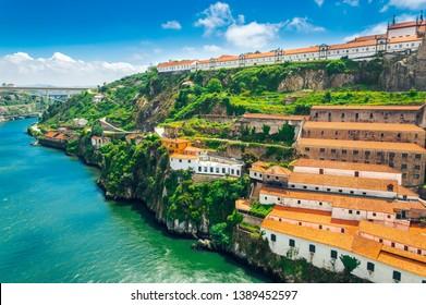 Porto, Portugal: Monastery of Serra do Pilar and wine cellars in Vila Nova de Gaia on the Duoro river bank
