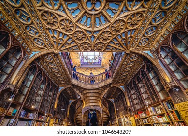 Porto, Portugal - November 13, 2017: Lello Bookstore in Porto, considered to be one of the most beautiful bookstores in the world