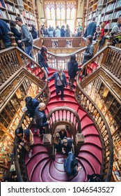Porto, Portugal - November 13, 2017: Stairs in Lello Bookstore in Porto, considered to be one of the most beautiful bookstores in the world