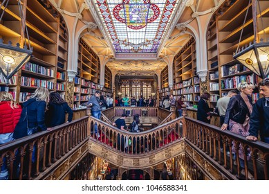 Porto, Portugal - November 13, 2017: People visits Lello Bookstore in Porto, considered to be one of the most beautiful bookstores in the world