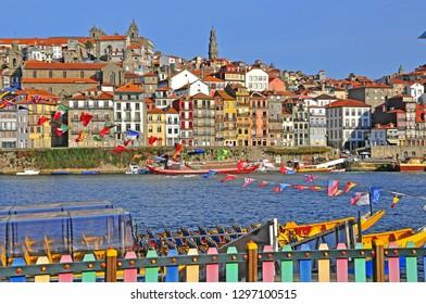PORTO, PORTUGAL - NOVEMBER 26: Colorful houses of Porto old town on November 26, 2012.