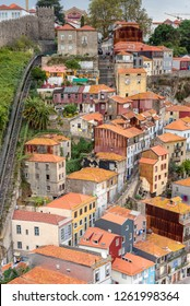 PORTO, PORTUGAL - OCTOBER 21, 2018. Old town of Porto with the Guindais Funicular that leads to quay at Guindais