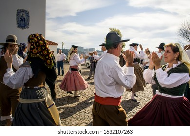 Porto, Portugal - October 30, 2011: Portuguese folk group with ethnographic Portuguese clothes