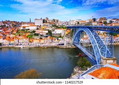 Porto, Portugal od town Ribeira view and Luis I bridge close up