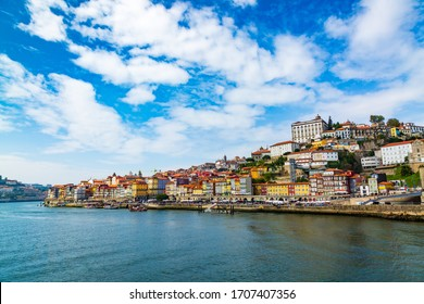 Porto, Portugal, old town cityscape and the Douro River, seen from the Dom Lusi bridge