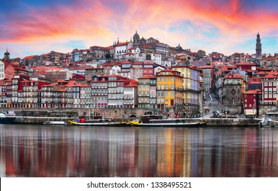 Porto, Portugal old town on the Douro River. Oporto panorama
