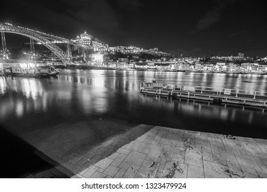 PORTO PORTUGAL ON JANUARY 2018: Douro river by night  Porto Portugal on January 7, 2018