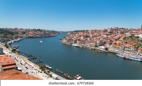 Porto, Portugal, panorama of the river Douro and tiles roofs