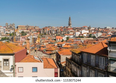 Porto, Portugal. Panoramic view of colorful old houses of Porto, Portugal.