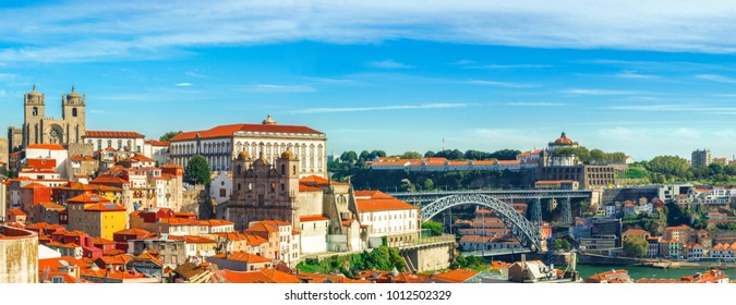 Porto, Portugal. Panoramic view of downtown of Porto, Portugal with Dom Luis I Bridge over Douro River. Cityscape