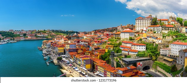 Porto, Portugal panoramic view of old town Oporto from Dom Luis bridge on the Douro River in sunny day